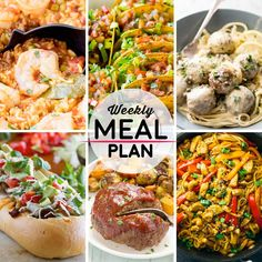 Weekly Meal Plan #59! A meal plan to help you keep things tasty each week, including Spanish paella, oven baked beef tacos, chicken piccata meatballs, and more! | HomemadeHooplah.com