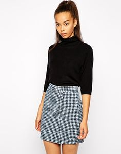 Pop+Boutique+Polo+Neck+Top+in+Fine+Knit ASOS str. UK 8 Skirt + black turtle neck Fall spring