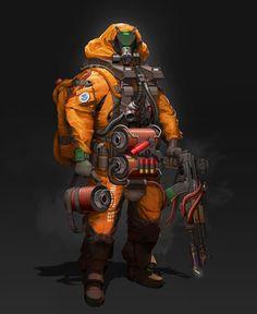 impressed by Firebreak Cyberpunk Character, Cyberpunk Art, Character Concept, Character Art, Character Design, Armor Concept, Concept Art, Hazmat Suit, Futuristic Armour