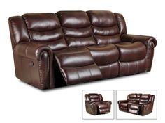 Corinthian Salinger Burgundy Reclining Sofa And Loveseat