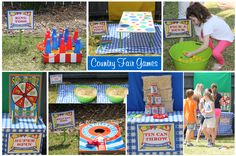 country fair games and ideas County Fair Theme, County Fair Birthday, 3rd Birthday, Vintage Carnival Games, Carnival Themes, Party Themes, Party Ideas, Game Ideas, Country Fair Party