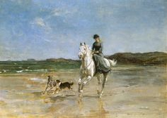 Heywood Hardy - Horse and Rider on a Windswept Beach