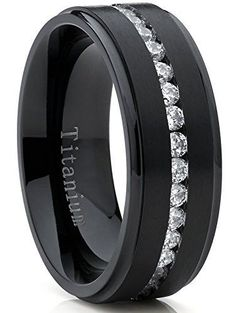 Black Titanium Men's Eternity Wedding Band Ring with Cubic Zirconia CZ, Comfort Fit 8mm