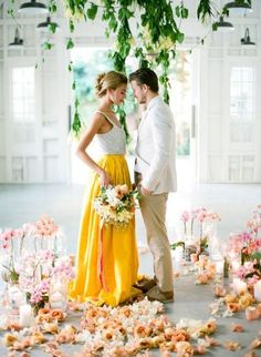 30 Dreamy Wedding Dresses Not in White that Your'll Fall In Love With丨Custom Made Bridal Gown,Design Your Own Dress,Yalan Wedding Couture Colored Wedding Dresses, Wedding Colors, Wedding Styles, Wedding Yellow, Yellow Weddings, Wedding Flowers, Summer Wedding, Dream Wedding, Wedding Day