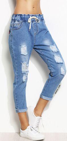 Distressed Rolled Hem Drawstring Jeans