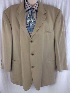 EUC Geoffrey Beene Sport Coat 48R Tencel Taupe 3 Button Traditional Mens Blazer  #GeoffreyBeene #ThreeButton