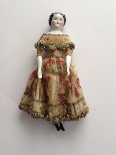 "Antique 7 5"" German China Head Doll Original Dress Leather Wooden Carrying Case 
