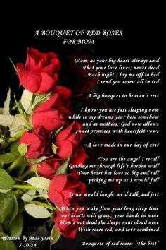 A BOUQUET OF RED ROSES FOR MOM - Mothers Day Poems
