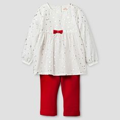 Baby Girls' 2 Piece Top and Bottom Set Baby Cat & Jack™ - Cream/Red : Target