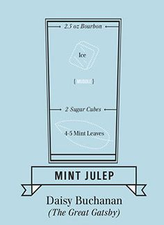 """A favorite of Daisy Buchanan's, the mint julep (made with Bourbon whiskey) is the signature drink of this F. Scott Fitzgerald novel. Daisy famously drags the crew to a ritzy New York hotel — which she describes as """"a place to have a mint julep"""" — """"Open the whiskey, Tom,"""" she orders, """"And I'll make you a mint julep...Then you won't seem so stupid to yourself."""" A true Southerner, it's no wonder Daisy would turn to bourbon in a moment of crisis."""