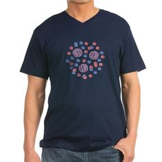Men's V-Neck T-Shirt With Red-Blue Balls