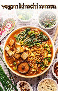 Vegan Korean Food, Vegan Ramen, Vegan Soup, Best Korean Food, Ramen Recipes, Vegan Recipes Easy, Vegetarian Recipes, Dinner Recipes, Spicy Ramen Recipe