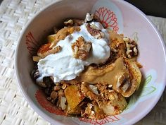 "It's like deconstructed pie.. for breakfast! Heated fuji apple + PB + walnuts + Vanilla Chobani ""whipped cream."""