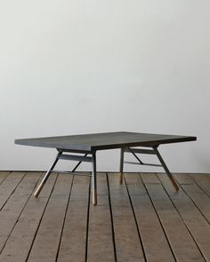 "Brandywine Coffee Table - Dark Finish by Minam.com with oak feet, steel legs.  $990. dimensions 48""x28""x17.5"""
