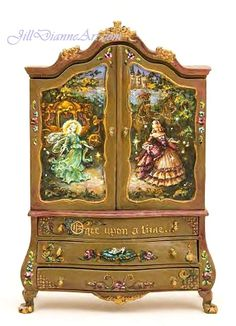 "Cinderella miniature art painted on a 7"" cupboard by JillDianne. SOLD."