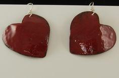 Small Red Enamel Valentine Heart Earrings on Sterling silver ear wires 2493