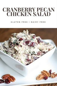 Easy cranberry pecan chicken salad recipe that's gluten free and dairy free.