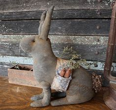 Grungy Springtime Rabbit...with his bag full of carrots.