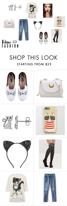 """""""Clawsome cat outfit"""" by thatonefashionista on Polyvore featuring Karl Lagerfeld, Cara, Leg Avenue and Vivienne Westwood"""