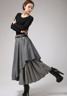 72b1c730748bd9 Gray wool skirt, winter skirt, womens skirt, warm skirt, wool skirt, tea  length skirt, women wool skirt, midi skirt, houndstooth skirt 0720.  Winterrock ...