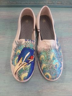 Glitter Peacock Hand Painted Canvas Women Flats Sneakers Slip On Vans Style