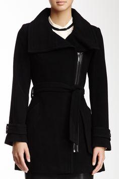 Cole Haan Wool Asymmetrical Zip Coat
