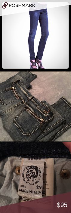 """Super Sexy Diesel skinny jeans size 28 - 29 x 32"""" I adore these jeans, just not long enough for me. 5 pocket with zipper back pocket detail. Slight stretch, low rise, skinny, seriously sexy! Excellent condition! Flat waist measures 15"""", it's tagged at sz 29 but fits more like a 28. I believe the style is clush stretch Diesel Jeans Skinny"""