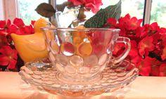 Beautiful Vintage Bubble Glass Tea Cup and by VintageGlassEscape