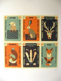 Mammals of the British Isles stamps. By Tom Frost.