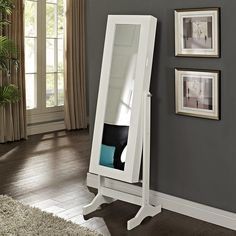 Have to have it. Modern Jewelry Armoire Cheval Mirror - High Gloss White - $199.98 @hayneedle