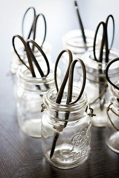 vintage mason jars with scissors #masonjars #masonjarcraftslove