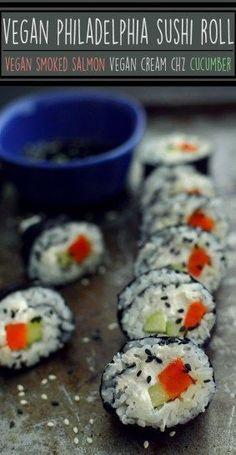 Vegan Philadelphia Sushi Roll - 3 Vegan Dinner Recipes - Rich Bitch Cooking Blog