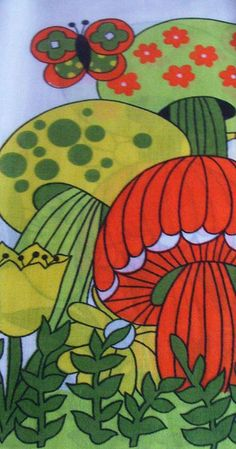 mod vintage mushroom fabric. we had a table cloth with this motif on it in our kitchen when I was little.