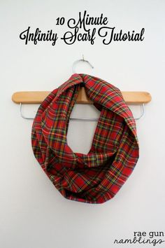 Infinity Scarf Tutorial two ways. Use 1/2 yard for one scarf or a full yard for 2 at Rae Gun Ramblings