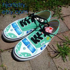 Volkswagen Camper-Van, retro, hippie, Painted Vans, Toms, Converse shoes, sneakers. Vw shoes on Etsy, $114.00