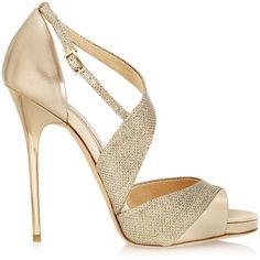 Jimmy Choo Tyne metallic leather and textured-lamé sandals ($850) ❤ liked on Polyvore featuring shoes, sandals, heels, gold, strappy high heel sandals, ankle strap shoes, metallic sandals, strappy heel sandals and heeled sandals