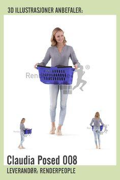 Affiliate/ad/reklame. 3D modell av kvinne som bærer plastkurv med klær. Modellene er egnet til å illustrere dagligdagse gjøremål i huset.