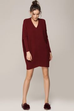 Bat-sleeved sweater dress - FrontRowShop