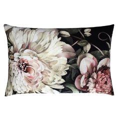 Dark Floral II Black Saturated on Velvet Cushion (60 x 40 cm) B