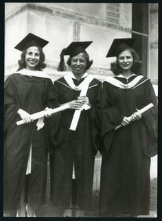 Three Rice Institute women on graduation day, 1940