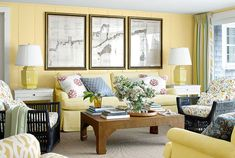 yellow walls living room how to decorate your living room wall country living room with yellow wall idea feat beautiful slipcover sofa design plus unique twin table lamps yellow living room wallpaper Living Room Paint, Living Room Decor, Living Rooms, Family Rooms, Yellow Sofa, Yellow Walls, Yellow Rooms, Yellow Art, Yellow Fabric
