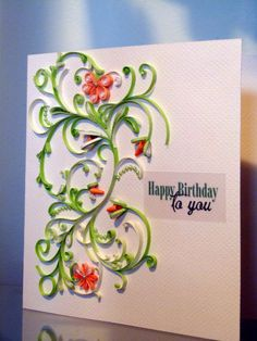 Birthday handmade card with quilling flowers by NBeltramiCreations, $10.00