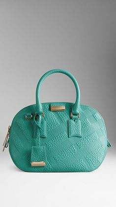 9ad6aaf8c0d Burberry Aqua Green The Small Orchard in Embossed Check Leather - Crafted  from check-embossed