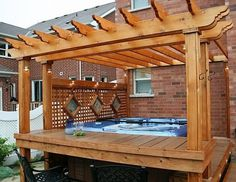 hot-tub-pergola-idea House Roof, Pergola Attached To House, Outdoor Structures