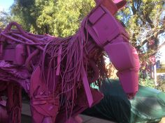 A robot horse, made out of various discarded electronics.