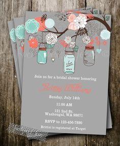 Vintage Shabby Chic francés país tarro ducha bebé boda invitación Digital imprimible Coral Turquesa