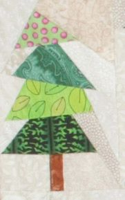 Christmas Flag Quilt, week 4 -- Keep those trees coming! Click through to the Quilters Newsletter website for the free full-size foundations for the next three trees: 8, 8R, and 9.