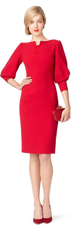 This would be so classy and vibrant at work (only if!): Oscar de la Renta ● wool crepe dress