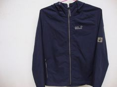 Jack Wolfskin Outdoor Men's Jacket Hooded Windbreaker Size Medium Navy Storm Lock Active Waterproof Windbreaker Hooded