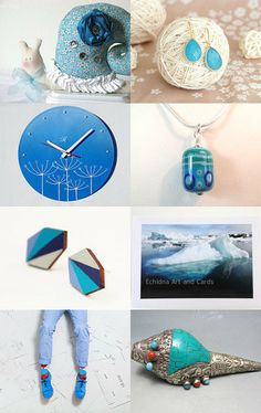 """""""Blue gifts."""" Curated by Helena  @ https://www.etsy.com/shop/Rainbowcaterpillar Featuring my Vintage Tibetan Conch Shell Silver Repousse and turquoise mosaic work,raised beads @ https://www.etsy.com/listing/174917374/vintage-tibetan-conch-shell-silver?ref=tre-2726175954-8"""